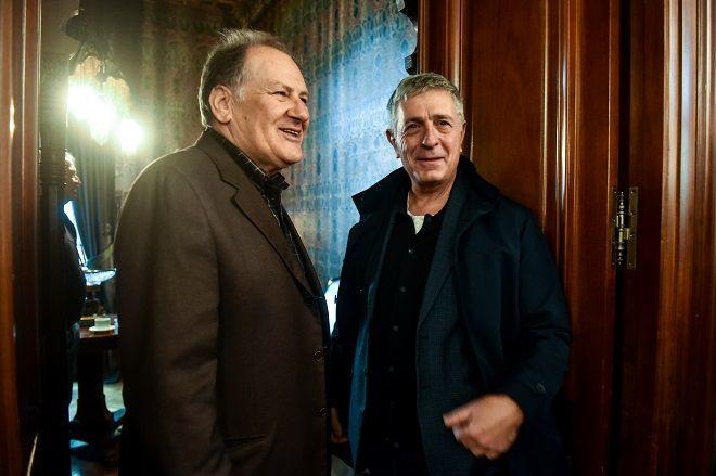 Ο Κώστας Λαλιώτης και ο Στέλιος Κούλογλου στην παρουσίαση του βιβλίου του Γιώργου Λακόπουλου.