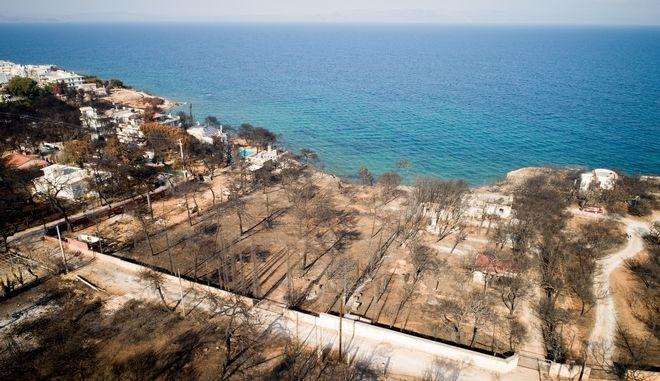 Αεροφωτογραφία από το Μάτι, ένα μήνα μετά την φονική πυρκαγιά - Αύγουστος 2018