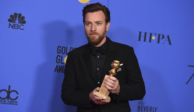 "Ewan McGregor poses in the press room with the award for best performance by an actor in a limited series or a motion picture made for television for ""Fargo"" at the 75th annual Golden Globe Awards at the Beverly Hilton Hotel on Sunday, Jan. 7, 2018, in Beverly Hills, Calif. (Photo by Jordan Strauss/Invision/AP)"