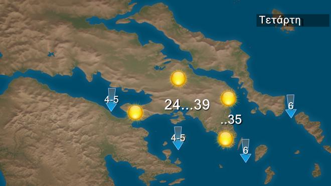 Καιρός: Ακόμη και στους 41 βαθμούς η θερμοκρασία την Τετάρτη - Εξασθένηση ανέμων στο Αιγαίο