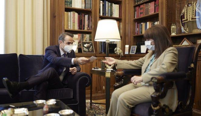 Συνάντηση της Προέδρου της Δημοκρατίας, Κατερίνας Σακελλαροπούλου με τον πρωθυπουργό, Κυριάκο Μητσοτάκη
