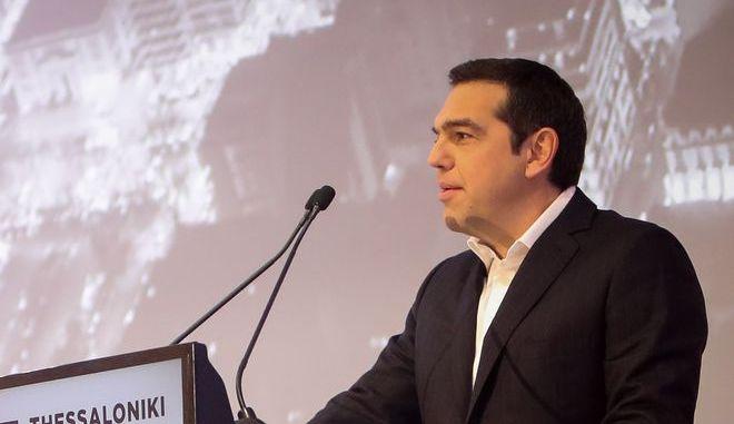 """Στιγμιότυπο από την ομιλία του πρωθυπουργού στο """"Thessaloniki Summit 2018"""""""
