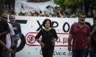 καρέ από αντιφασιστική πορεία για τα πέντε χρόνια δολοφονίας του Φύσσα, Μάγδα Φύσσα