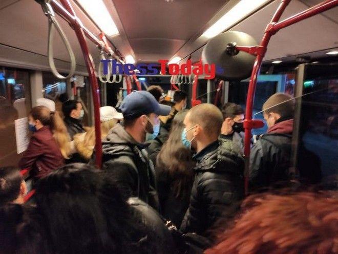 Θεσσαλονίκη: Απίστευτες εικόνες σε λεωφορείο σε ώρα απαγόρευσης κυκλοφορίας