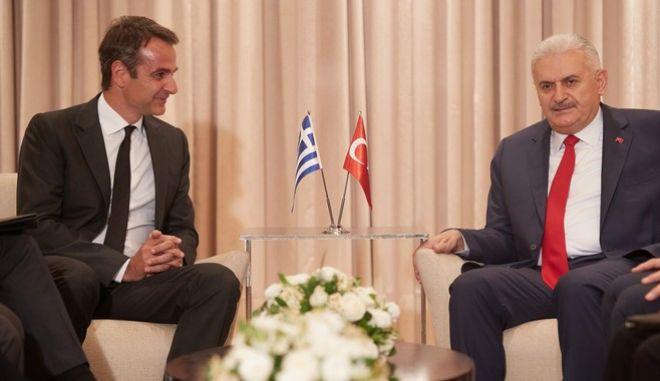 Συνάντηση του Προέδρου της Ν.Δ. Κυριάκου Μητσοτάκη με τoν Τούρκο πρωθυπουργό Μπιναλί Γιλντιρίμ, την Δευτέρα 19 Ιουνίου 2017. (EUROKINISSI/ΓΡΑΦΕΙΟ ΤΥΠΟΥ ΝΔ/ΔΗΜΗΤΡΗΣ ΠΑΠΑΜΗΤΣΟΣ)