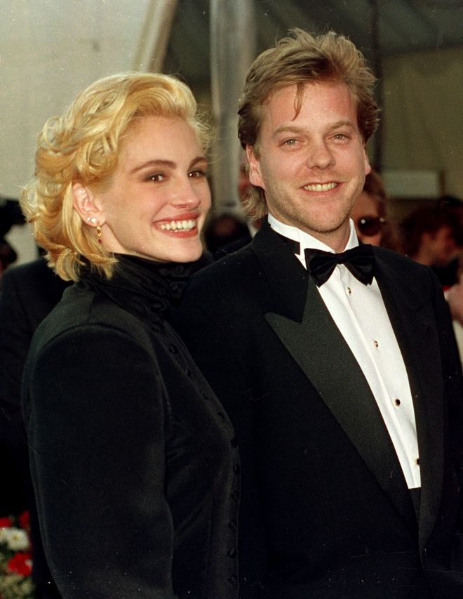 Actress Julia Roberts arrives with Kiefer Sutherland at the 63rd annual Academy Awards in Los Angeles, Ca., Monday, March 25, 1991.  Roberts is nominated for best actress for her role in