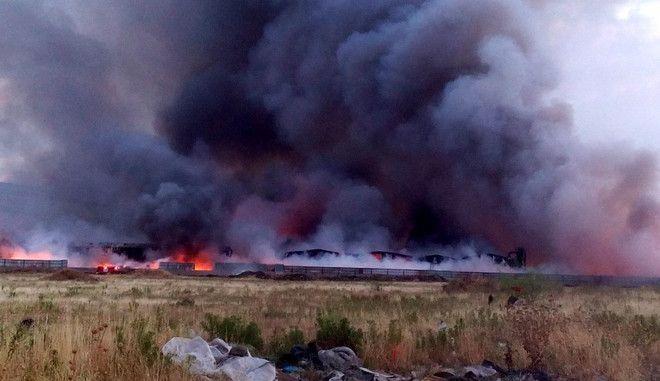ΑΣΠΡΟΠΥΡΟΣ-Πυρκαγιά σε εργοστάσιο ανακύκλωσης στη Νέα Ζωή Ασπρόπυργου.(EUROKINISSI)