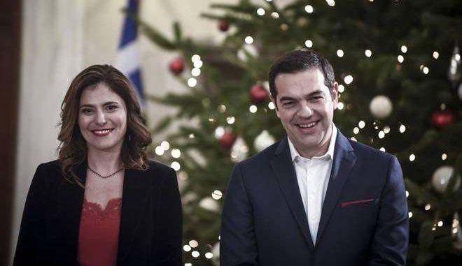 Κάλαντα της Πρωτοχρονιάς στον Πρωθυπουργό Αλέξη Τσίπρα, την Κυριακή 31 Δεκεμβρίου 2017 στο Μέγαρο Μαξίμου. (EUROKINISSI/ΤΑΤΙΑΝΑ ΜΠΟΛΑΡΗ)