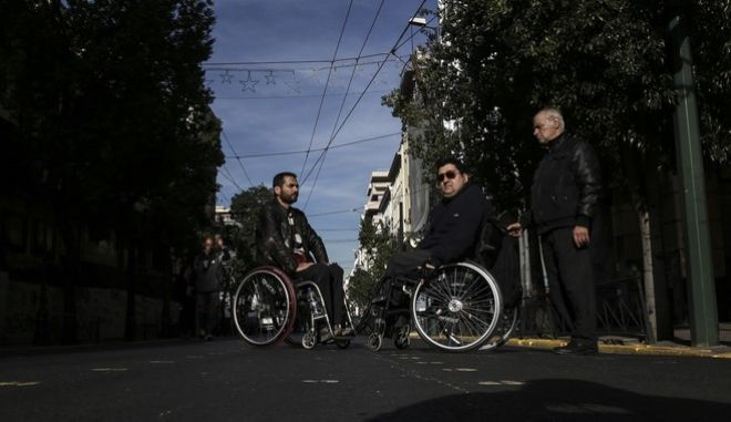 Nationwide rally organized by the National Confederation of Disabled People (ESAmeA) in view of the December 3, National Disabled Day, in Athens, Greece on December 2, 2016. /  -        ()   3 ,   , , 2  2016.