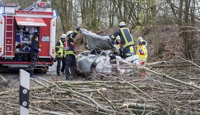 Rescatistas trabajan en un auto que quedó aplastado por un árbol caído durante una tormenta en Moers, en el oeste de Alemania, el 18 de enero de 2018. El conductor resultó herido de gravedad. (Christoph Reichwein/dpa via AP)