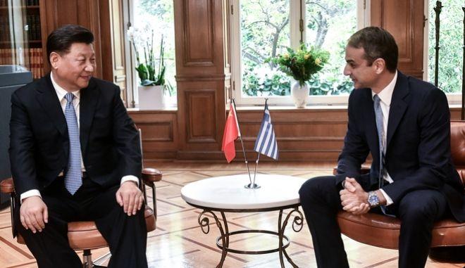 Συνάντηση του Πρωθυπουργού Κυριάκου Μητσοτάκη με τον Πρόεδρο της Κίνας Σι Τζιπίνγκ.