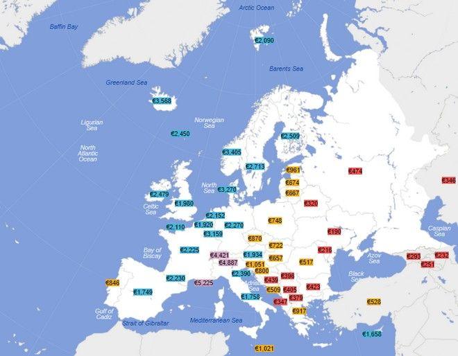 Χάρτης: Οι μέσοι μισθοί στην Ευρώπη. Που είναι 4.420 ευρώ και που 190 ευρώ
