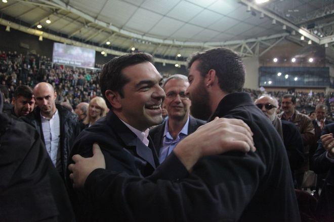 Στιγμιότυπο από την πολιτική εκδήλωση του ΣΥΡΙΖΑ