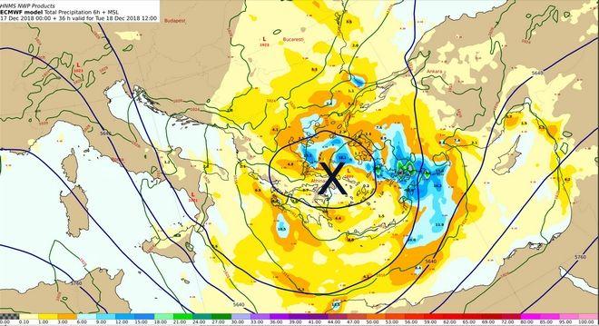 Χάρτης 500 hPa και επιφανείας με τα προβλεπόμενα ύψη υετού από Τρίτη 18/06:00 έως Τρίτη 18/12:00 UTC