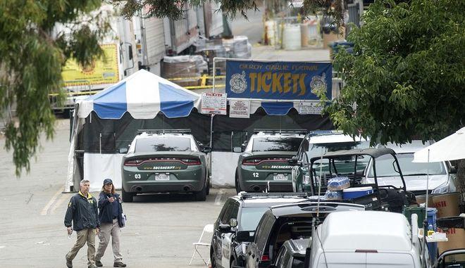 Εικόνα από τις εγκαταστάσεις του φεστιβάλ στο Γκιλρόι της Καλιφόρνια όπου σημειώθηκε ένοπλη επίθεση