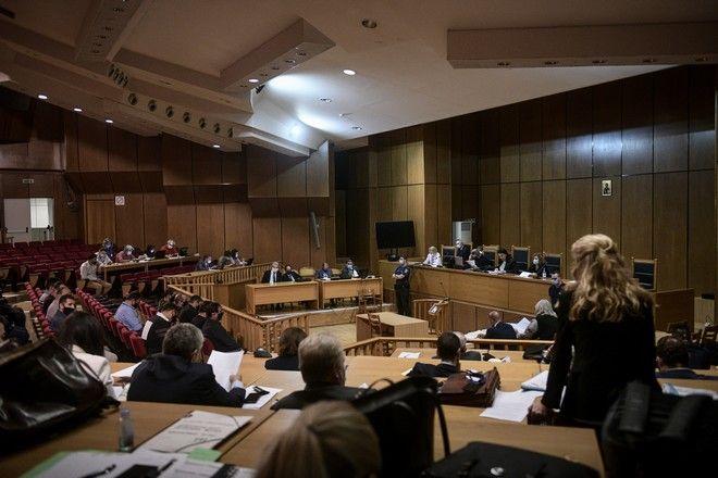 Συνεχίζεται για 7η ημέρα η διαδικασία επι της απόφασης στην δίκη της Χρυσης Αυγής,.Σήμερα ξεκίνησε η διαδικασία επί του αναστραλτικού χαρακτήρα των ποινών, Πέμπτη 15 Οκτωβρίου 2020 (EUROKINISSI/ΤΑΤΙΑΝΑ ΜΠΟΛΑΡΗ)