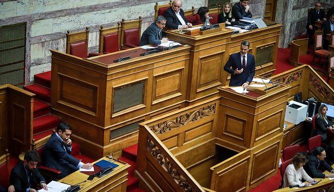 Δεύτερη ημέρα της συζήτησης στην Ολομέλεια της Βουλής για τις αλλαγές στον καταστατικό χάρτη της χώρας (Συνταγματική αναθεώρηση), την Τετάρτη 13 Φεβορυαρίου 2019. (EUROKINISSI/ΓΙΩΡΓΟΣ ΚΟΝΤΑΡΙΝΗΣ)