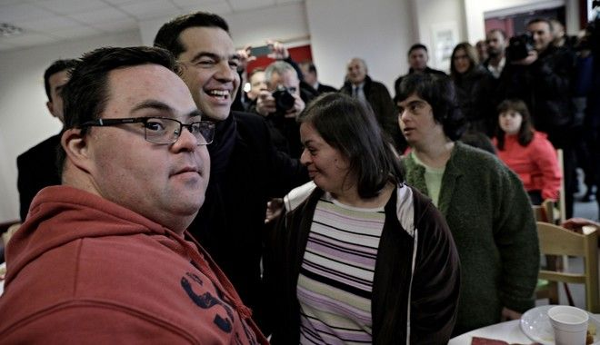 Greek Prime Minister Alexis Tsipras visits the Down's Syndrome Association in Thessaloniki on Jan. 15, 2017 /         Down     15 , 2017