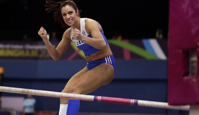 Greece's Katerina Stefanidi celebrates a successful attempt in the women's pole vault final at the World Athletics Indoor Championships in Birmingham, Britain, Saturday, March 3, 2018. (AP Photo/Matt Dunham)