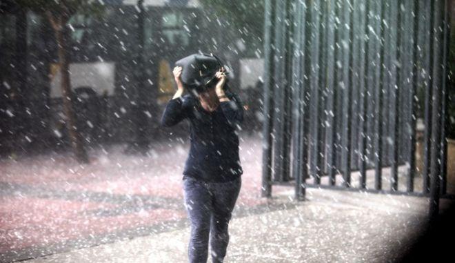 Δυνατή καταιγίδα με χαλαζόπτωση στο κέντρο της Αθήνας (Φωτό Αρχείου)