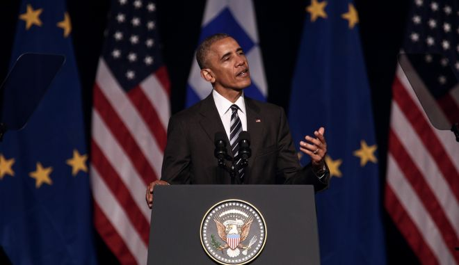 US President Barack Obama speaks at the Stavros Niarchos Foundation Cultural Center in Athens, Greece on November 16, 2016. /     ,  ,      , , , 16  2016.