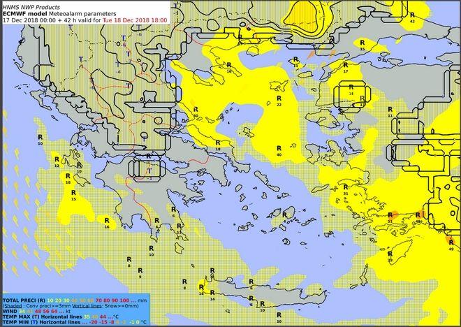 Προβλεπόμενα ύψη υετού από Τρίτη 18/12:00 έως Τρίτη 18/18:00 UTC