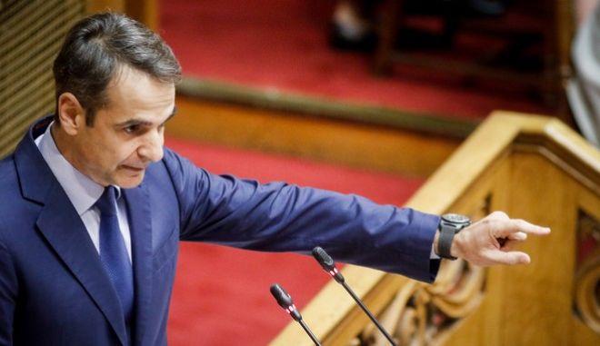 Ο Κυριάκος Μητσοτάκης, στο βήμα της Βουλής