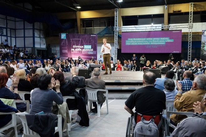 Ο υποψήφιος δήμαρχος Αθηναίων Παύλος Γερουλάνος στην παρουσίαση του προγράμματός του