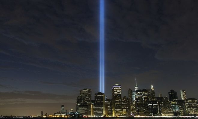 The Tribute in Light rises above the lower Manhattan skyline, Saturday, Sept. 10, 2016, in New York. Sunday marks the fifteenth anniversary of the terrorist attacks of Sept. 11, 2001on the United States. (AP Photo/Mark Lennihan)
