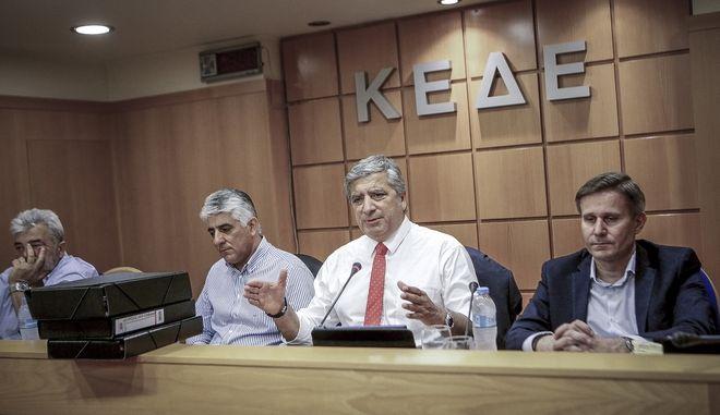 Συνεδρίαση του Διοικητικού Συμβουλίου της ΚΕΔΕ έπειτα από την ακύρωση της συνάντησης με τον υπουργό Εσωτερικών την Πέμπτη 16 Μαΐου 2018. (EUROKINISSI/ΠΑΝΑΓΙΩΤΗΣ ΣΤΟΛΗΣ)