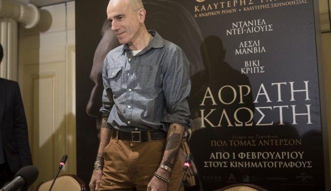 """Συνέντευξη τύπου του ηθοποιού Ντάνιελ Ντέι Λιούις για την πρεμιέρα της νέας ταινίας """"Αόρατη Κλωστή"""" στην Αθήνα την Πέμπτη 1 φεβρουαρίου 2018. (PANORAMA PRESS)"""