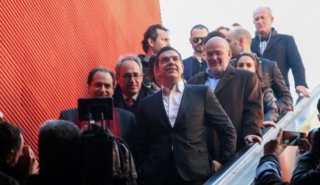 Ξενάγηση του Πρωθυπουργού, Αλέξη Τσίπρα στον πρώτο ολοκληρωμένο σταθμό του Μετρό της Θεσσαλονίκης, Συντριβάνι