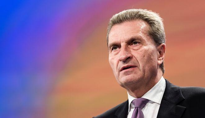 Ο Ευρωπαίος Επίτροπος, αρμόδιος για τον προϋπολογισμό, Γκίντερ Έτινγκερ