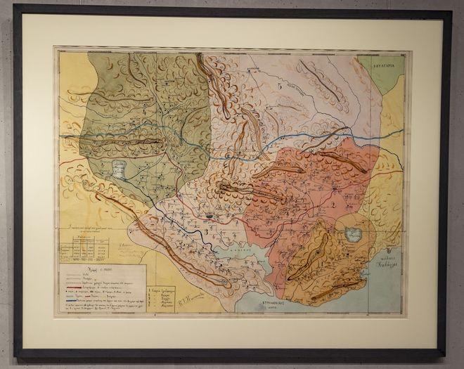 Χειροποίητος χάρτης της περιοχής της Μακεδονίας στις αρχές του 20ού αιώνα