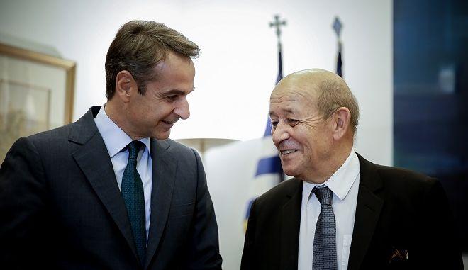 Ο Πρόεδρος της Νέας Δημοκρατίας Κυριάκος Μητσοτάκης συναντήθηκε  με τον Υπουργό Εξωτερικών και Ευρωπαϊκών Υποθέσεων της Γαλλίας, Jean-Yves Le Drian