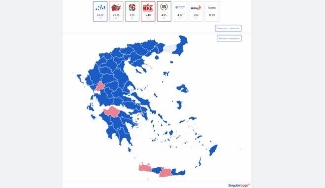 Αποτελέσματα εκλογών 2019: Ο χάρτης της Ελλάδας στο 81% της ενσωμάτωσης