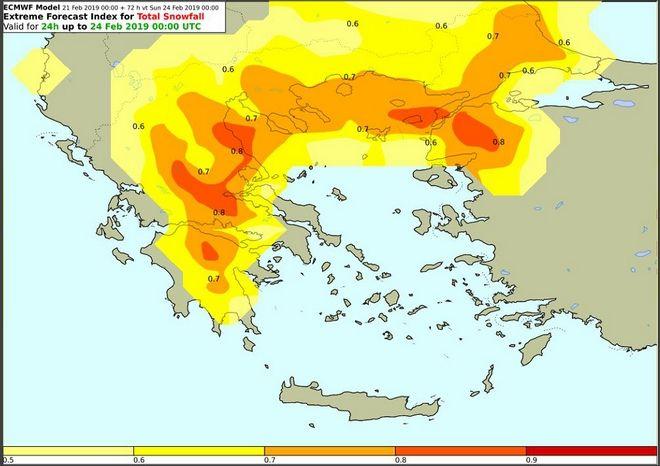 Δείκτης επικινδυνότητας για χιονοπτώσεις με βάση τα όρια του Ευρωπαϊκού Κέντρου Μεσοπρόθεσμων Προγνώσεων (ECMWF) για το Σάββατο ( αφορά όλο το 24ωρο)