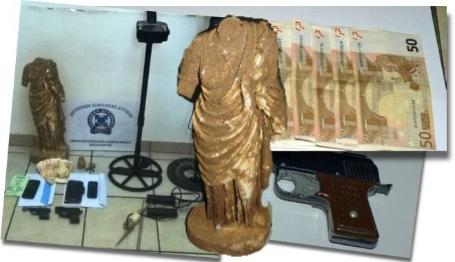 Τα ευρήματα της ΕΛ.ΑΣ. κατά τη σύλληψη των αρχαιοκάπηλων