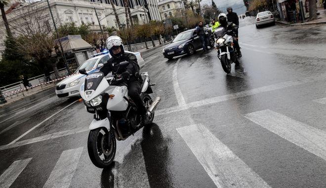 Μέτρα ασφαλείας τηε Ελληνικής Αστυνομίας στο κέντρο της Αθήνας την Παρασκευή 11 Ιανουαρίου 2019.