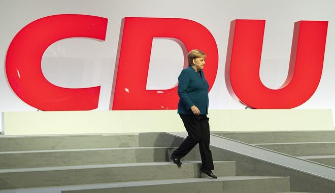 Η Άνγκελα Μέρκελ σε συνέδριο του CDU στη Λειψία τον Νοέμβριο του 2019