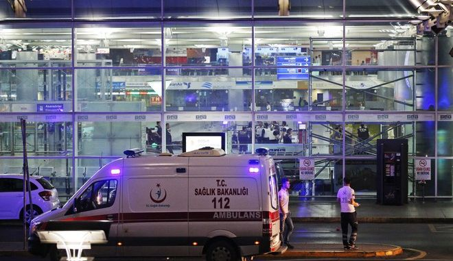 Turkish rescue services gather outside Istanbul's Ataturk airport, Tuesday, June 28, 2016. Two explosions have rocked Istanbul's Ataturk airport, killing several people and wounding scores of others, Turkey's justice minister and another official said Tuesday. A Turkish official says two attackers have blown themselves up at the airport after police fire at them. The official said the attackers detonated the explosives at the entrance of the international terminal before entering the x-ray security check. (AP Photo/Emrah Gurel)