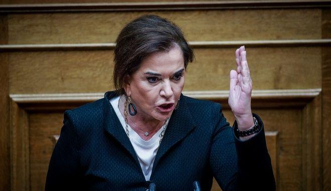 Η Ντόρα Μπακογιάννη στη συζήτηση στη Βουλή για την συμφωνία των Πρεσπών