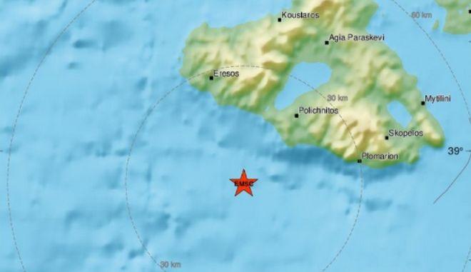 Σεισμός 4 Ρίχτερ νότια της Μυτιλήνης