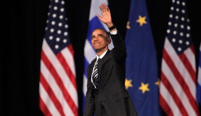 """Ομιλία του Προέδρου των ΗΠΑ Μπαράκ Ομπάμα στο Κέντρο Πολιτισμού του Ιδρύματος """"Σταύρος Νιάρχος"""" με θέμα τις αξίες της δημοκρατίας και τη διαχρονικότητά τους την Τετάρτη 16 Νοεμβρίου 2016. (EUROKINISSI/ΓΙΑΝΝΗΣ ΠΑΝΑΓΟΠΟΥΛΟΣ)"""