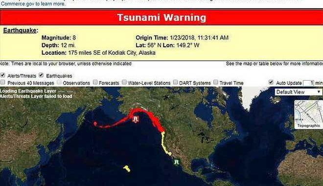 Αλάσκα: Λήξη συναγερμού για το τσουνάμι μετά τα 8,2 Ρίχτερ