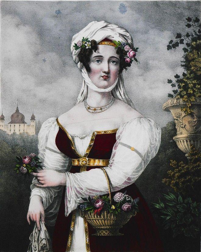 Η Λασκαρίνα Μπουμπουλίνα, το 1827 με ρούχα που ανταποκρίνονταν στο οικονομικό της status.