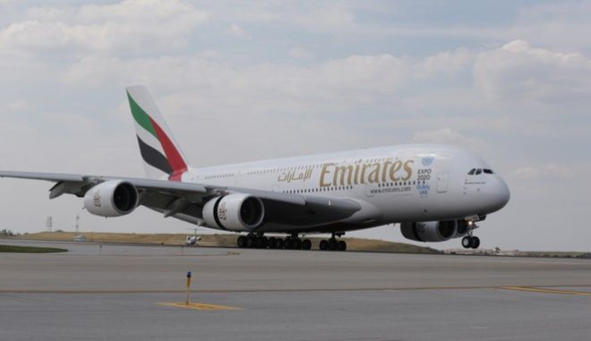 IMAGE DISTRIBUTED FOR EMIRATES AIRLINE - An Emirates A380 aircraft touches down at Chicago O'Hare International Airport (ORD) on Tuesday, July 19, 2016 marking the first A380 passenger service in OHares history. (Jean-Marc Giboux/AP Images for Emirates Airline)