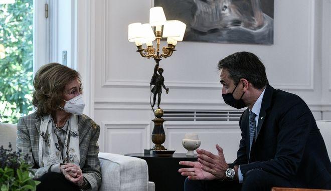 Συνάντηση του πρωθυπουργού με τη Βασίλισσα Σοφία.