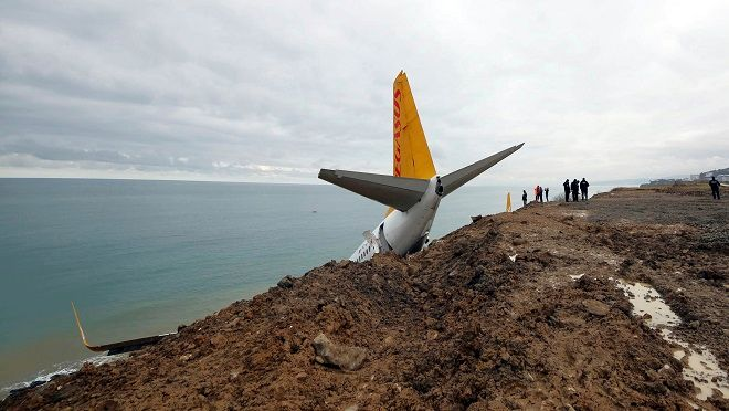 Το Boeing 737-800 της Pegasus Airlines που λίγο έλειψε να βρεθεί στην θάλασσα στο αεροδρόμιο της Τραπεζούντας, τον Ιανουάριο του 2018.