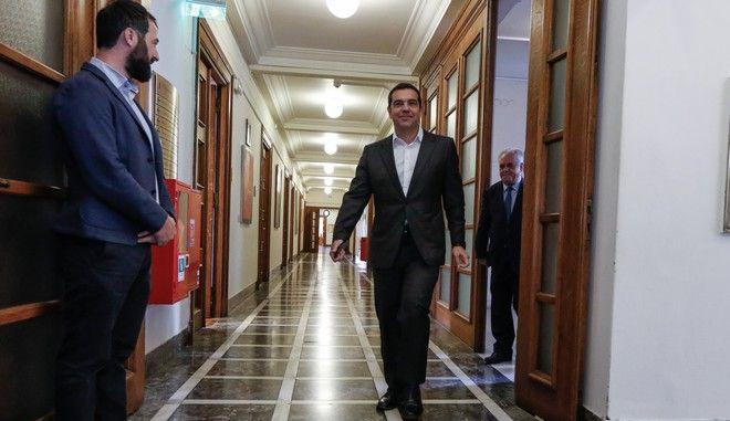 Ο πρωθυπουργός Αλέξης Τσίπρας μετά την ολοκλήρωση υπουργικού συμβουλίου